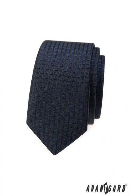 Modrá slim kravata