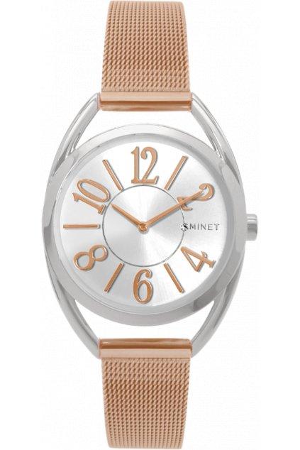 Stříbrno-růžové dámské hodinky MINET ICON BICOLOR MESH