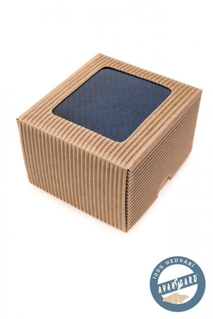 Modrá hedvábná kravata v dárkové krabičce
