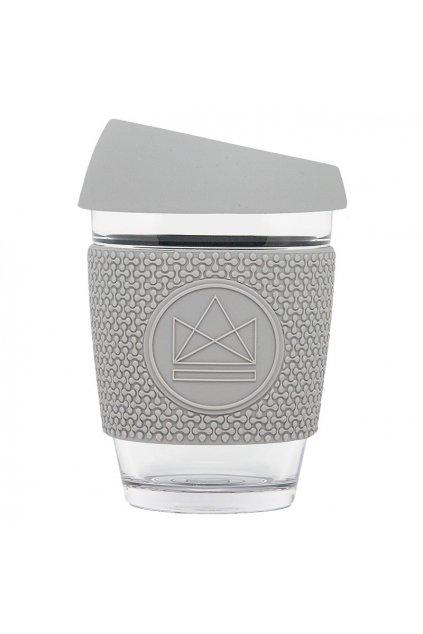 Skleněný hrnek na kávu, M, 340 ml, Neon Kactus, šedý