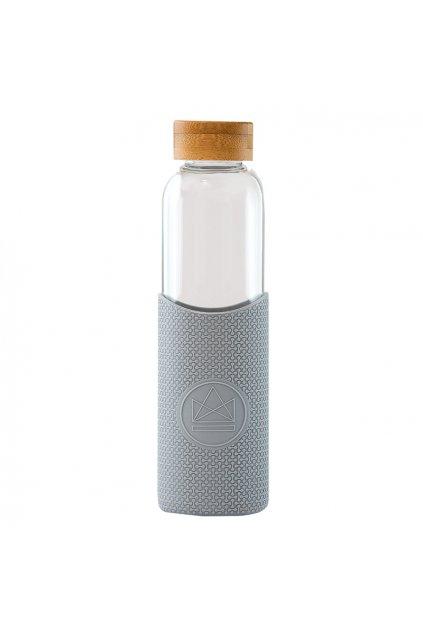 Skleněná láhev s rukávem, 550 ml, Neon Kactus, šedá