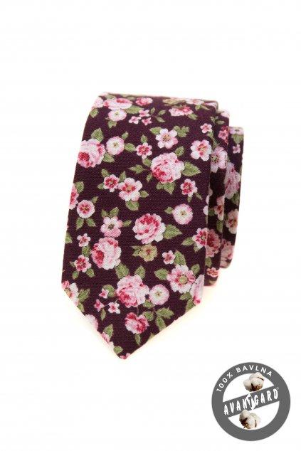 Vínová slim kravata se vzorem
