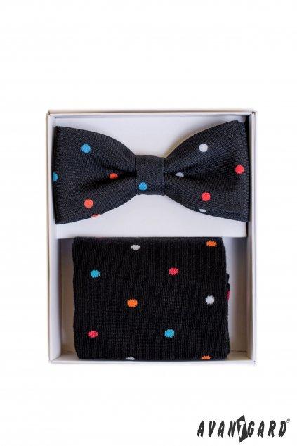 Modrý set: motýlek a ponožky s puntíky