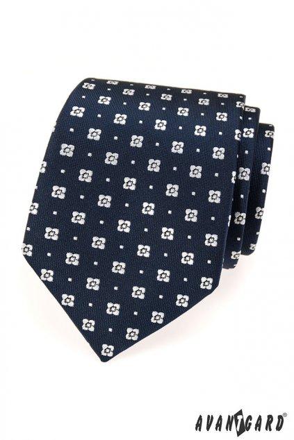 Tmavě modrá kravata s bílými květy