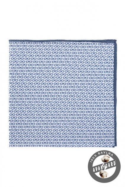 Bílo-modrý kapesníček do saka se vzorem brýlí