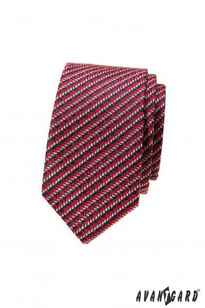 Červená vzorovaná slim kravata