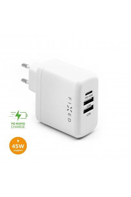 Síťová nabíječka FIXED s USB-C a 2xUSB výstupem, podpora PD, 45W, bílá