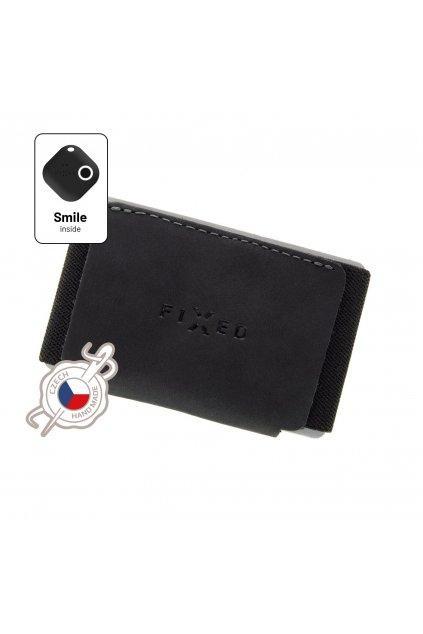 Kožená peněženka FIXED Smile Tiny Wallet se smart trackerem FIXED Smile Motion, černá
