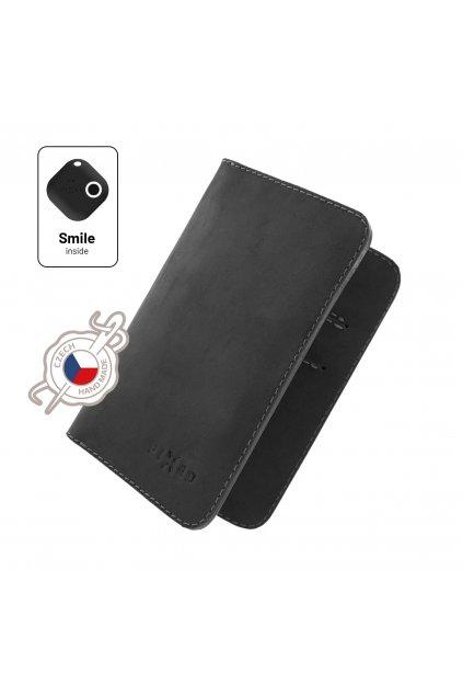Kožená peněženka FIXED Smile Wallet XL se smart trackerem FIXED Smile Motion, černá