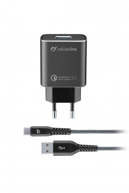 Set USB nabíječky a odolného USB-C kabelu Cellularline Tetra Force 18W, Qualcomm® Quick Charge 3.0, černá