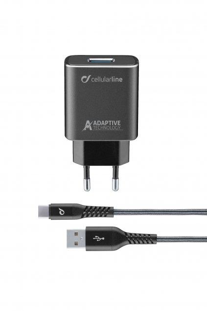 Set USB nabíječky a odolného USB-C kabelu Cellularline Tetra Force 15W, adaptivní nabíjení, černá