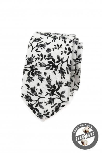 Bílá vzorovaná slim kravata