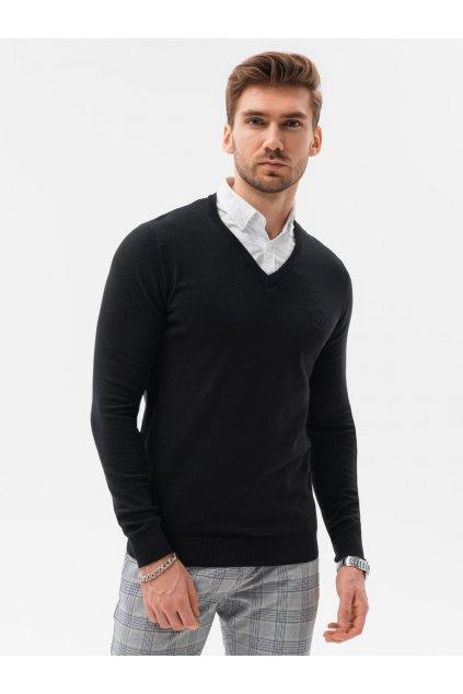 Černý pánský svetr do V - E120