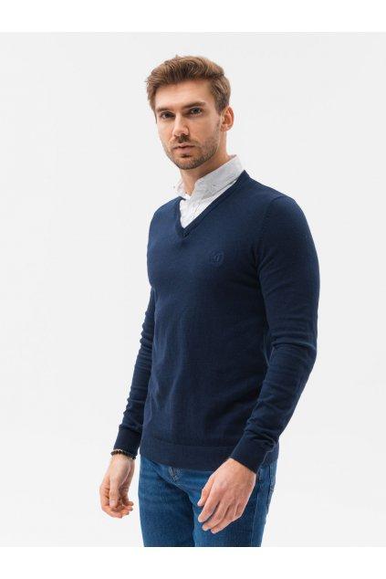 Tmavě modrý pánský svetr do V - E120