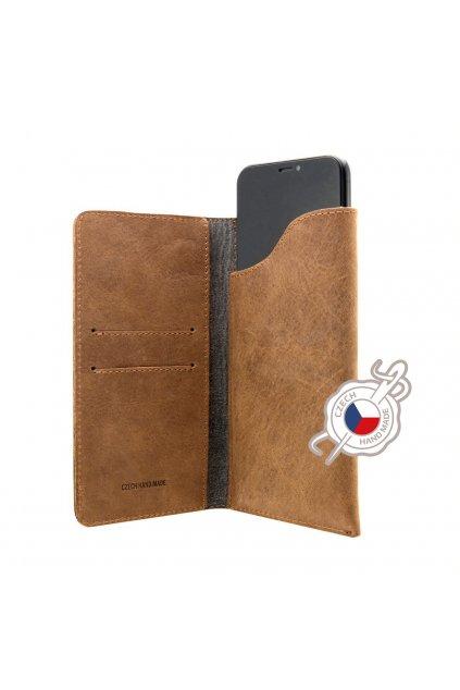 Kožené pouzdro FIXED Pocket Book pro Apple iPhone X/XS/11 Pro, hnědé
