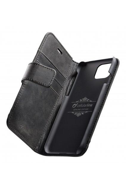 Prémiové kožené pouzdro typu kniha Cellularine Supreme pro Apple iPhone 11, černé