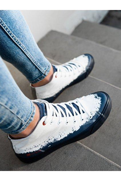 Pánské kotníkové boty T364 - bílá/tmavě modrá