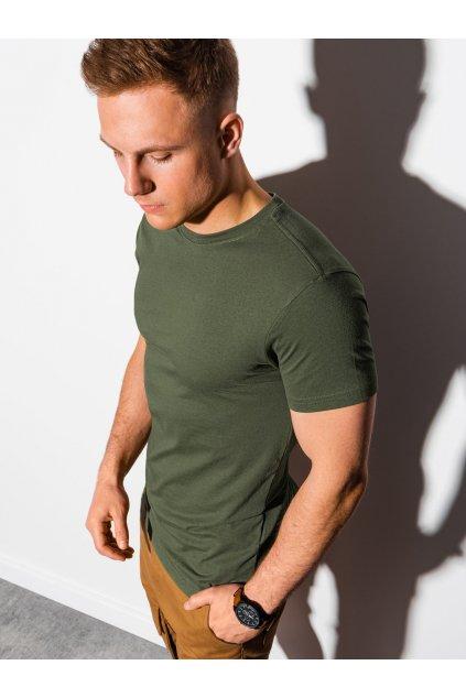 Jednobarevné pánské tričko S1370 - khaki