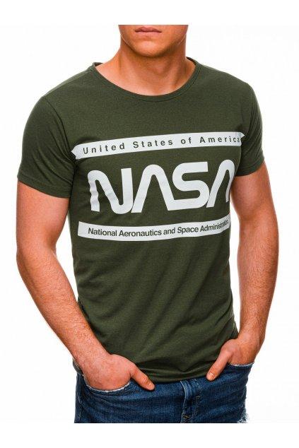Pánské tričko s potiskem NASA S1435 - zelená/bílá
