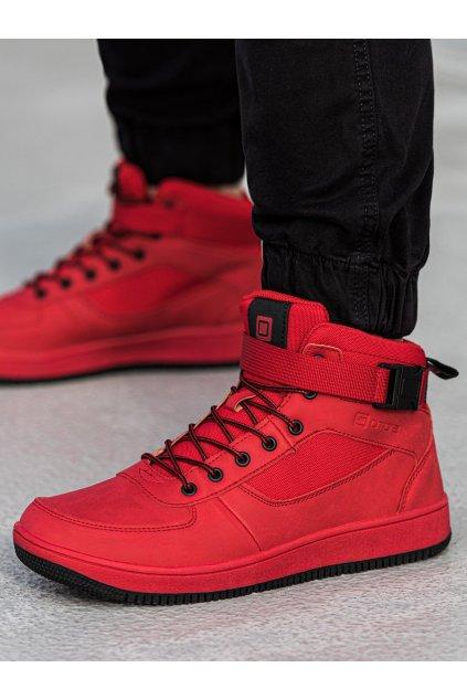 Pánské kotníkové boty T317 - červená