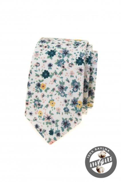 Bílá bavlněná slim kravata