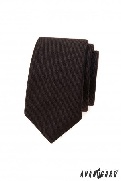 Hnědá slim kravata
