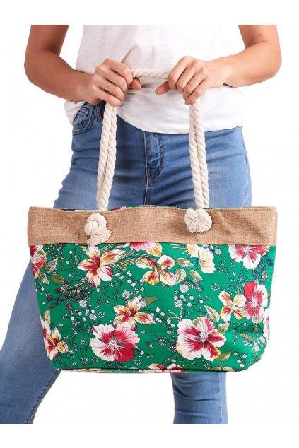 Letní lehká plážová taška zelená s kvítky SP-A