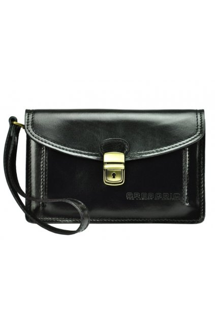 Černá kožená pánská dokladová taška / etue Gregorio