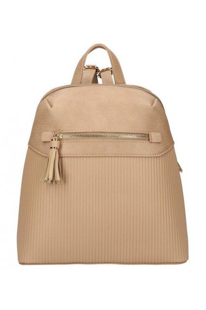 Béžovo-hnědý módní dámský batůžek s čelní kapsou AM0065