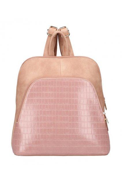 Růžový dámský módní batůžek v kroko designu AM0106