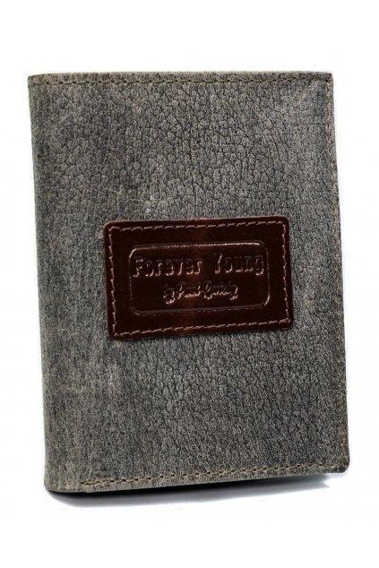 Kožená šedá pánská peněženka RFID v krabičce Forever Young