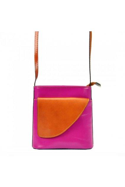 Kožená malá dámská crossbody kabelka růžová-hnědá