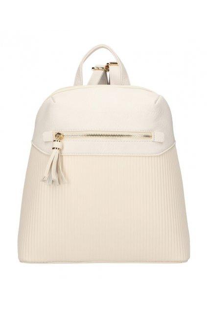 Béžový módní dámský batůžek s čelní kapsou AM0065