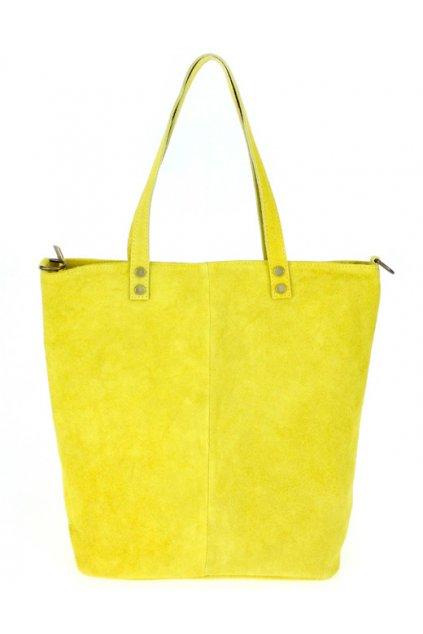 Kožená velká žlutá broušená praktická dámská kabelka