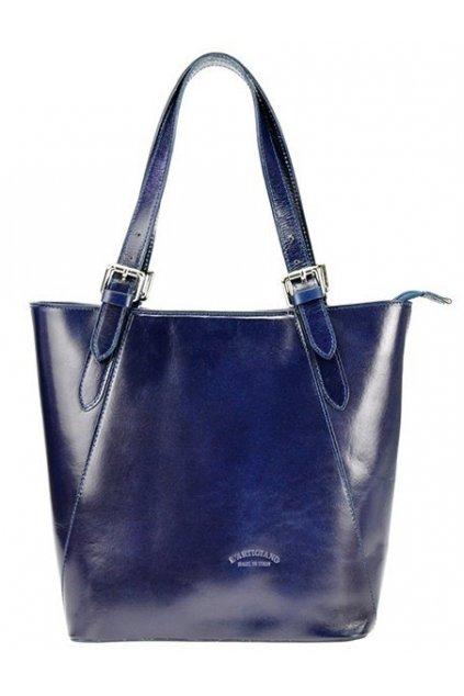 Velká tmavě modrá kožená dámská kabelka přes rameno L Artigiano