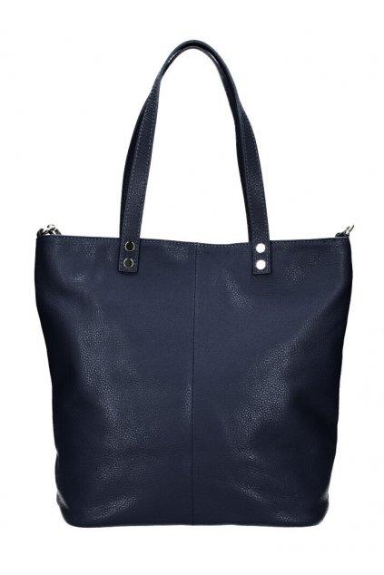 Kožená velká dámská shopper kabelka Juliette tmavě modrá