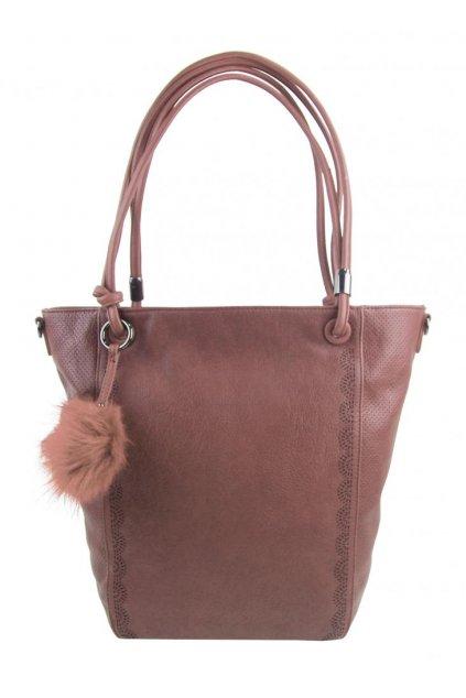 Velká starorůžová dámská kabelka přes rameno s bambulkou 5136-BB