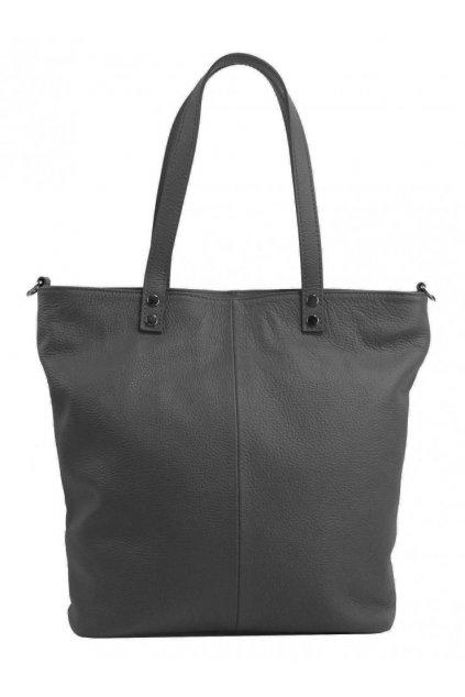 Kožená velká dámská shopper kabelka Juliette tmavě šedá