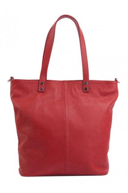 Kožená velká dámská shopper kabelka Juliette červená