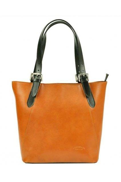 Velká camel hnědá kožená dámská kabelka s černými uchy L Artigiano