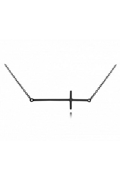 MINET Černý stříbrný náhrdelník  KŘÍŽ ležatý JMAS0062BN45