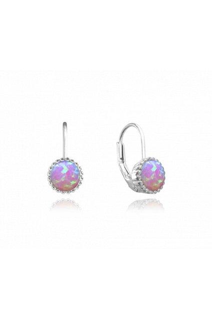 MINET Stříbrné náušnice  s růžovými opálky JMAS0072PE00