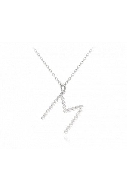 """MINET Stříbrný náhrdelník  písmeno """"M"""" s perličkami JMAS710MSN45"""