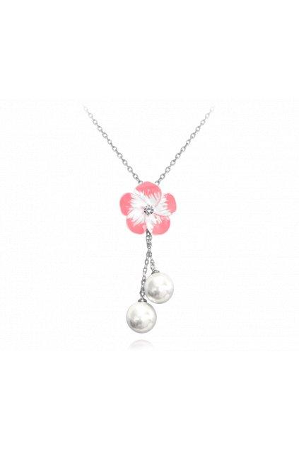 MINET Růžový rozkvetlý stříbrný náhrdelník  FLOWERS se zirkonem a perličkami JMAS5015PN45