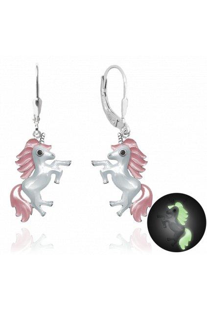 MINET Svítící růžové stříbrné náušnice  JEDNOROŽCI JMAD0011PE00