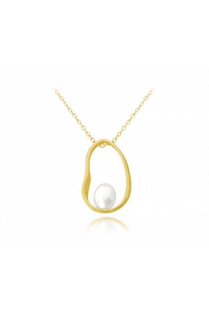 MINET Pozlacený stříbrný oválný náhrdelník  s perlou JMAS7020GN45