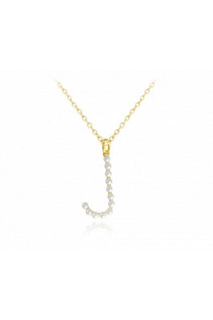 """MINET Pozlacený stříbrný náhrdelník  písmeno """"J"""" s perličkami JMAS710JGN45"""