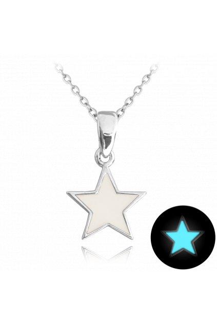 MINET Svítící bílý stříbrný náhrdelník  HVĚZDIČKA JMAD0023WN38