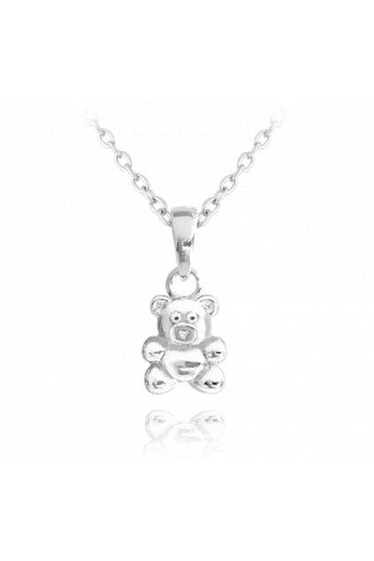 MINET Stříbrný náhrdelník  MEDVÍDEK JMAD0013SN38