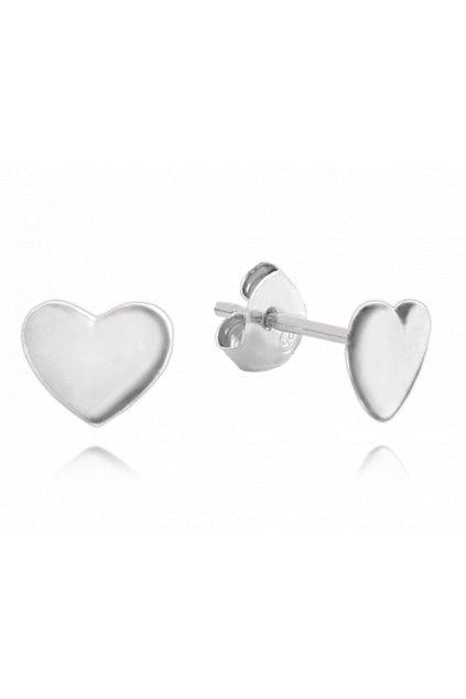 MINET Minimalistické stříbrné náušnice  srdíčka JMAN0085SE00